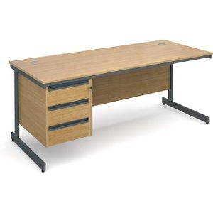 Value Line Classic C-leg Clerical Desk 3 Drawers, 179wx75dx73h (cm), Oak, Free Next Day De C7P3OX, Oak