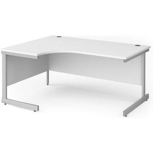 Value Line Classic+ C-leg Left Ergo Desk (silver Leg), 160wx120/80dx73h (cm), White Cc16el S Wh, White