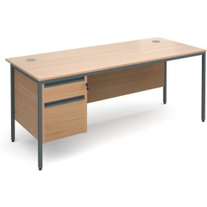 Value Line Classic H-leg Basic Clerical Desk 2 Drawer, 179wx75dx73h (cm), Beech, Free Deli H7P2BX, Beech