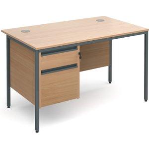 Value Line Classic H-leg Basic Clerical Desk 2 Drawer, 123wx75dx73h (cm), Beech, Free Stan H4p2bx