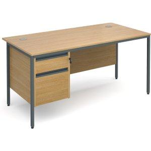 Value Line Classic H-leg Basic Clerical Desk 2 Drawer, 153wx75dx73h (cm), Oak, Free Standard Deliver H6P2OX