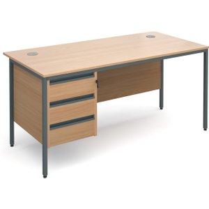Value Line Classic H-leg Basic Clerical Desk 3 Drawer, 153wx75dx73h (cm), Beech, Free Next H6P3BX, Beech