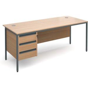 Value Line Classic H-leg Basic Clerical Desk 3 Drawer, 179wx75dx73h (cm), Beech, Free Deli H7P3BX, Beech