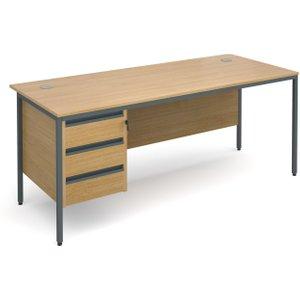 Value Line Classic H-leg Basic Clerical Desk 3 Drawer, 179wx75dx73h (cm), Oak, Free Next D H7P3OX, Oak
