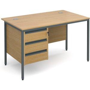 Value Line Classic H-leg Basic Clerical Desk 3 Drawer, 123wx75dx73h (cm), Oak, Free Next D H4P3OX, Oak