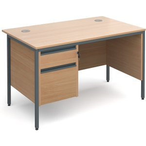 Value Line Classic H-leg Clerical Desk 2 Drawers, 123wx75dx73h (cm), Beech, Free Delivered H4MP2BX, Beech