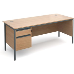 Value Line Classic H-leg Clerical Desk 2 Drawers, 179wx75dx73h (cm), Beech, Free Delivered H7MP2BX, Beech