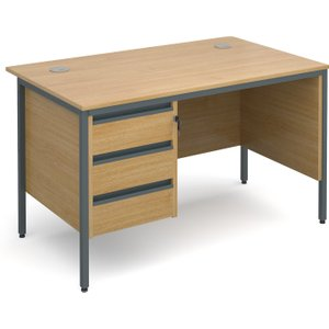 Value Line Classic H-leg Clerical Desk 3 Drawers, 123wx75dx73h (cm), Oak, Free Delivered & H4MP3OX, Oak