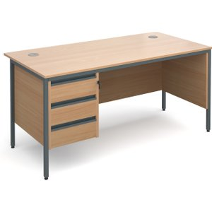 Value Line Classic H-leg Clerical Desk 3 Drawers, 153wx75dx73h (cm), Beech, Free Next Day  H6MP3BX, Beech