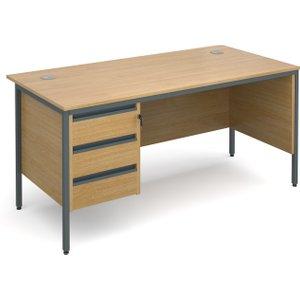 Value Line Classic H-leg Clerical Desk 3 Drawers, 153wx75dx73h (cm), Oak, Free Next Day De H6MP3OX, Oak