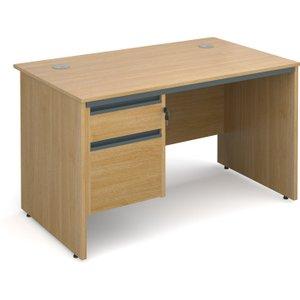 Value Line Classic Panel End Clerical Desk 2 Drawers, 123wx75dx73h (cm), Oak, Free Next Da S4P2OX, Oak