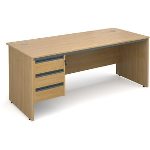 Value Line Classic Panel End Clerical Desk 3 Drawers, 179wx75dx73h (cm), Oak, Free Standar S7P3OX, Oak