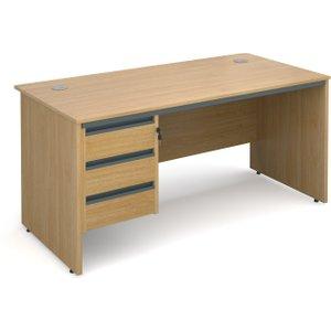 Value Line Classic Panel End Clerical Desk 3 Drawers, 153wx75dx73h (cm), Oak, Free Next Da S6P3OX, Oak