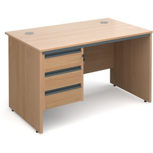Value Line Classic Panel End Clerical Desk 3 Drawers, 123wx75dx73h (cm), Beech, Free Stand S4P3BX, Beech