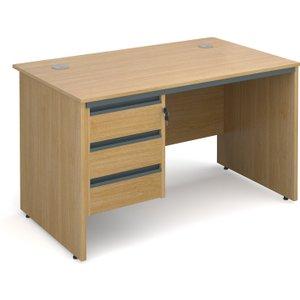 Value Line Classic Panel End Clerical Desk 3 Drawers, 123wx75dx73h (cm), Oak, Free Standar S4P3OX, Oak