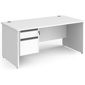 Value Line Classic+ Panel End Desk 2 Drawers (graphite Slats), 160wx80dx73h (cm), White, F Cp16s2 G Wh