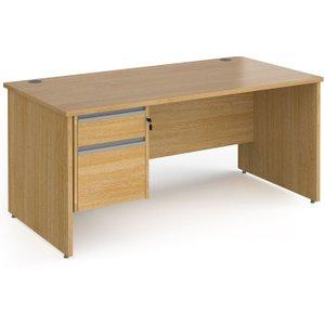 Value Line Classic+ Panel End Desk 2 Drawers (silver Slats), 140wx80dx73h (cm), Oak, Free  Cp14s2 S O