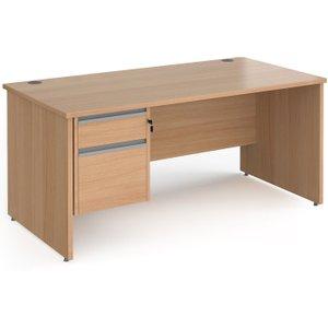 Value Line Classic+ Panel End Desk 2 Drawers (silver Slats), 180wx80dx73h (cm), Beech Cp18s2 S B