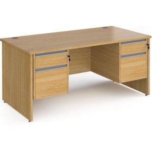 Value Line Classic+ Panel End Desk 2+2 Drawers (silver Slats), 160wx80dx73h (cm), Oak, Fre Cp16s22 S O