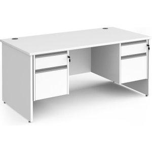 Value Line Classic+ Panel End Desk 2+2 Drawers (silver Slats), 160wx80dx73h (cm), White, F Cp16s22 S Wh