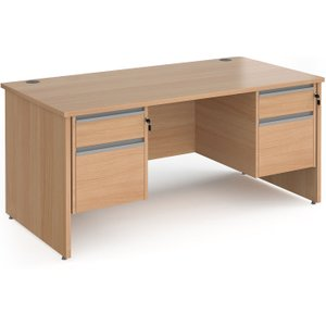 Value Line Classic+ Panel End Desk 2+2 Drawers (silver Slats), 160wx80dx73h (cm), Beech, F Cp16s22 S B