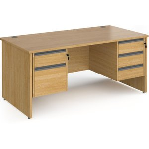 Value Line Classic+ Panel End Desk 2+3 Drawers (graphite Slats), 160wx80dx73h (cm), Oak Cp16s23 G O