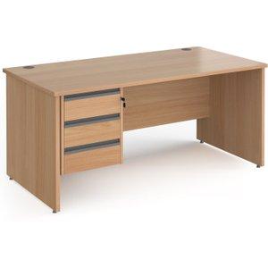 Value Line Classic+ Panel End Desk 3 Drawers (graphite Slats), 180wx80dx73h (cm), Beech, F Cp18s3 G B