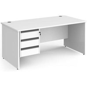 Value Line Classic+ Panel End Desk 3 Drawers (graphite Slats), 120wx80dx73h (cm), White, F Cp12s3 G Wh