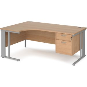 Value Line Deluxe Cable Managed Left Hand Ergo Desk 2 Drawers (silver Legs), 180wx120/80dx Mcm18elp2sb, Beech