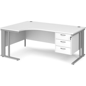 Value Line Deluxe Cable Managed Left Hand Ergo Desk 3 Drawers (silver Legs), 180wx120/80dx Mcm18elp3swh, White