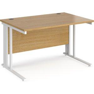 Value Line Deluxe Cable Managed Rectangular Desk (white Legs), 120wx80dx73h (cm), Oak Mcm12who, Oak