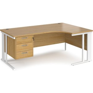 Value Line Deluxe Cable Managed Right Hand Ergo Desk 3 Drawers (white Legs), 180wx120/80dx Mcm18erp3who, Oak