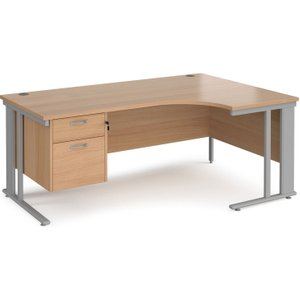 Value Line Deluxe Cable Managed Right Hand Ergo Desk 2 Drawers (silver Legs), 180wx120/80d Mcm18erp2sb, Beech