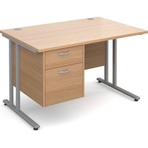 Value Line Deluxe C-leg Clerical Desk 2 Drawers, 120wx80dx73h (cm), Beech, Free Standard D MC12P2SBX, Beech