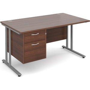 Value Line Deluxe C-leg Clerical Desk 2 Drawers, 140wx80dx73h (cm), Walnut, Free Standard  MC14P2SWX, Walnut