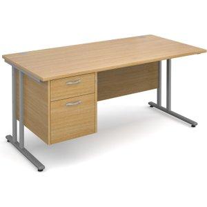 Value Line Deluxe C-leg Clerical Desk 2 Drawers, 160wx80dx73h (cm), Oak, Free Standard Del MC16P2SOX, Oak