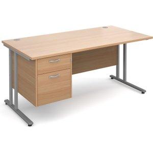 Value Line Deluxe C-leg Clerical Desk 2 Drawers, 160wx80dx73h (cm), Beech, Free Standard D MC16P2SBX, Beech