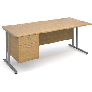 Value Line Deluxe C-leg Clerical Desk 2 Drawers, 180wx80dx73h (cm), Oak, Free Standard Del MC18P2SOX, Oak