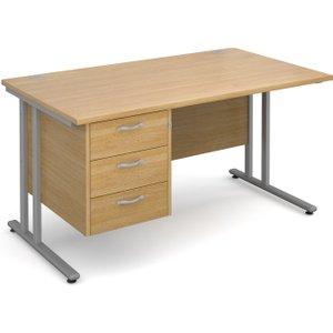 Value Line Deluxe C-leg Clerical Desk 3 Drawers, 140wx80dx73h (cm), Oak, Free Standard Del MC14P3SOX, Oak