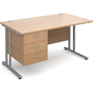 Value Line Deluxe C-leg Clerical Desk 3 Drawers, 140wx80dx73h (cm), Beech, Free Next Day D MC14P3SBX, Beech