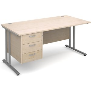 Value Line Deluxe C-leg Clerical Desk 3 Drawers, 160wx80dx73h (cm), Maple, Free Delivered  MC16P3SMX, Maple