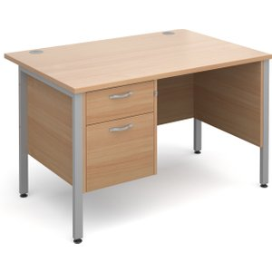Value Line Deluxe H-leg Clerical Desk 2 Drawers, 120wx80dx73h (cm), Beech, Free Standard D MH12P2SBX, Beech