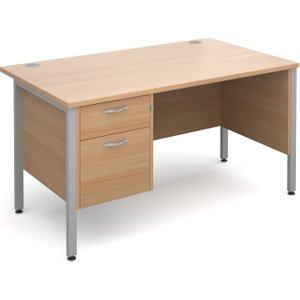 Value Line Deluxe H-leg Clerical Desk 2 Drawers, 140wx80dx73h (cm), Beech, Free Delivered  MH14P2SBX, Beech