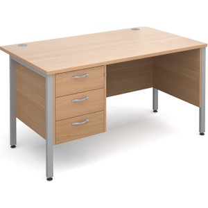 Value Line Deluxe H-leg Clerical Desk 3 Drawers, 140wx80dx73h (cm), Beech, Free Delivered  MH14P3SBX, Beech