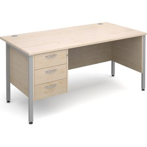 Value Line Deluxe H-leg Clerical Desk 3 Drawers, 160wx80dx73h (cm), Maple, Free Delivered  MH16P3SMX, Maple