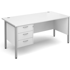 Value Line Deluxe H-leg Clerical Desk 3 Drawers, 160wx80dx73h (cm), White, Free Standard D MH16P3SWHX, White