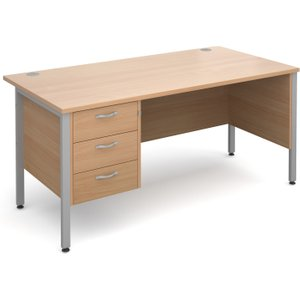 Value Line Deluxe H-leg Clerical Desk 3 Drawers, 160wx80dx73h (cm), Beech, Free Standard D MH16P3SBX, Beech