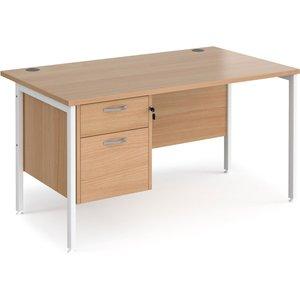 Value Line Deluxe H-leg Rectangular Desk 2 Drawers (white Legs), 140wx80dx73h (cm), Beech Mh14p2whb, Beech