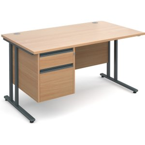 Value Line Premium C-leg Clerical Desk 2 Drawers, 140wx80dx73h (cm), Beech, Free Standard  MC14P2GBX, Beech