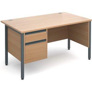 Value Line Premium H-leg Clerical Desk 2 Drawers, 140wx80dx73h (cm), Beech, Free Standard  MH14P2GBX, Beech